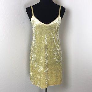 Zara Yellow Crushed Velvet V Neck Mini Dress